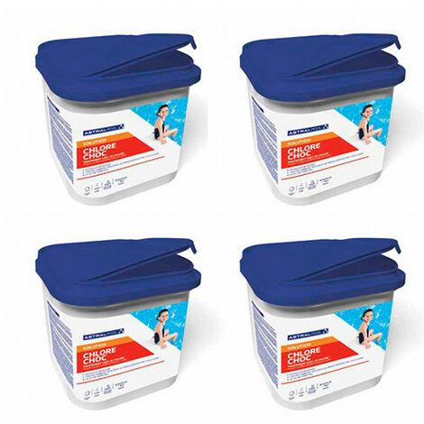 4 seaux de chlore choc trichloré 55% de 5 kg en pastilles de 20 gr
