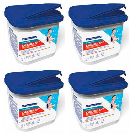 4 seaux de chlore lent en galet de 250 g - 5 kg AstralPool