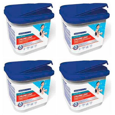 4 seaux de chlore lent sans acide borique en pastilles de 20 g - 4 kg AstralPool