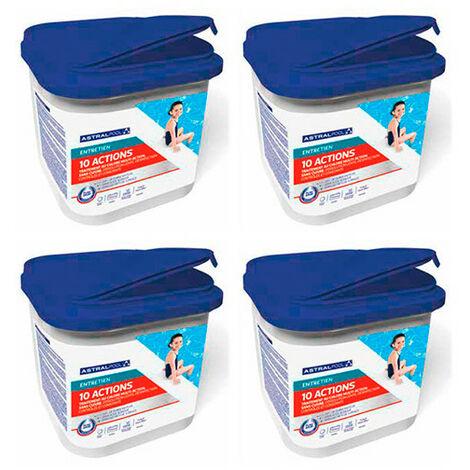 4 seaux de galets de 250 g 10 actions sans acide borique et sans cuivre - 4 kg AstralPool - -