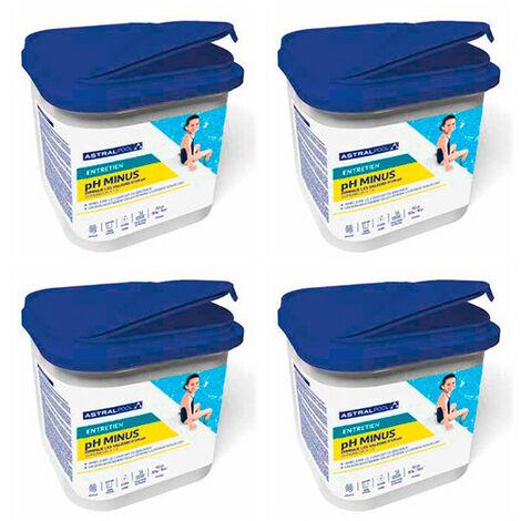 4 seaux de régulation PH moins poudre 5 kg AstralPool