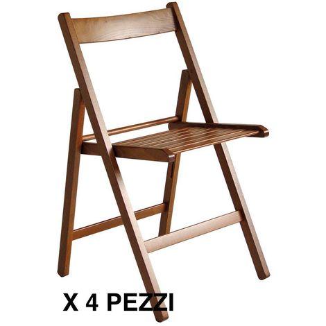 4 sedie pieghevole sedia birreria in legno naturale richiudibile per campeggio colore NATURALE