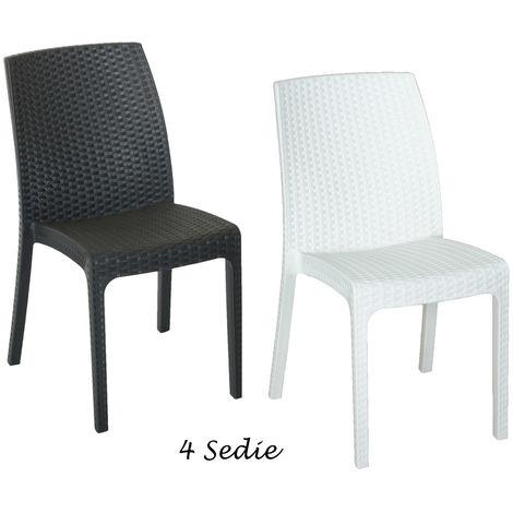 Sedie In Midollino.4 Sedie Poltrone Keter In Resina Antracite Bianco Rattan Da Esterno Giardino
