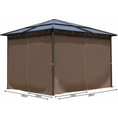 4 Seitenteile für Hardtop Pavillon 3x3m Seitenwandset Sichtschutz Vorhänge