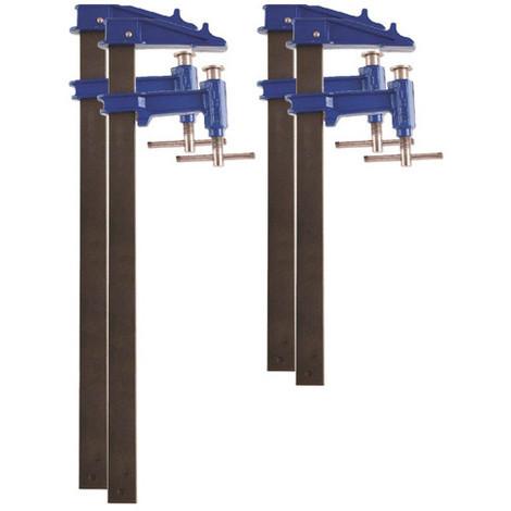 4 serre-joints à pompe 35 x 8 mm - 2 x L. 100 cm, 2 x L. 120 cm de type F - 99982 - Piher - -