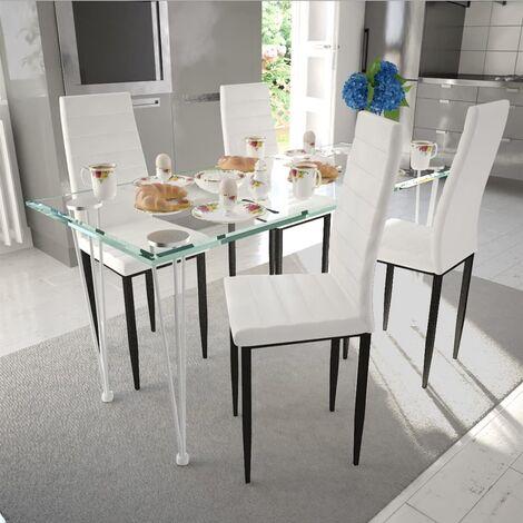 4 sillas blancas comedor Slim Line mesa de vidrio transparente - Blanco