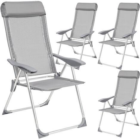 4 sillas de aluminio con respaldo - mueble de terraza plegable, silla con estructura de aluminio y malla sintética, asiento ajustable transpirable - gris