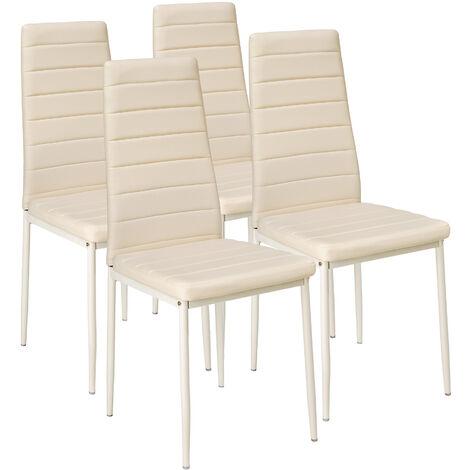 4 sillas de comedor de poli piel - sillas para salón de diseño, sillas de comedor modernas de acero lacado, asientos de comedor para casa