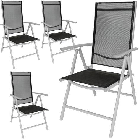4 sillas de jardín de aluminio - mueble de terraza plegable, silla con estructura de aluminio y malla sintética, asiento reclinable transpirable