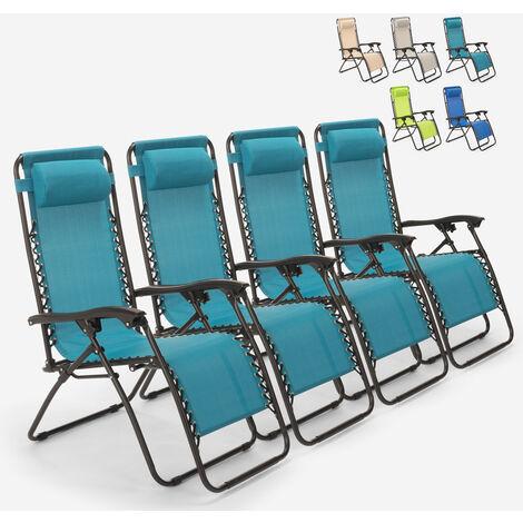 "main image of ""4 sillas de playa tumbonas hamacas plegables de jardín de varias posiciones Emily Zero Gravity"""
