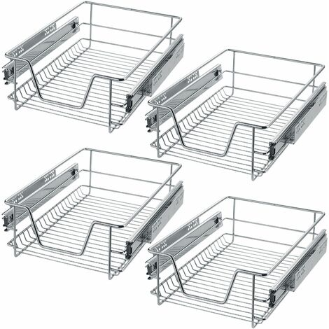 """main image of """"4 Sliding wire baskets with drawer slides - sliding wire baskets, drawer slides, kitchen drawer runners"""""""