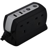 4 Socket, Compact Surge Protected Extension Lead With USB Charger, 1 Meter Cable