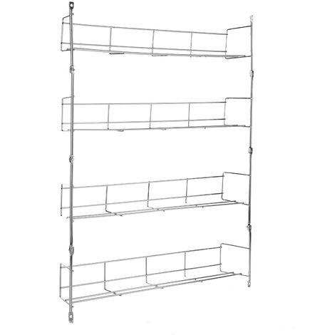 4 Spice Racks Organizer Storage Bottle Kitchen Wall Mount Metal