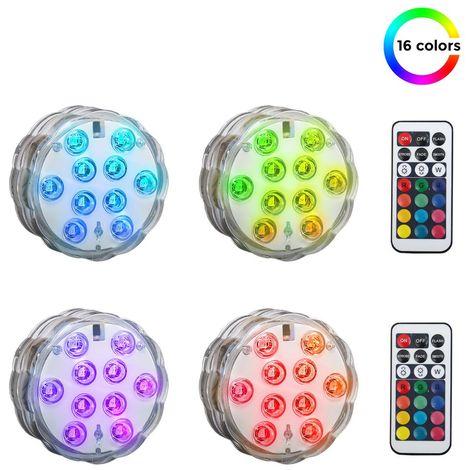 4 spots LED submersibles éclairage décoratif sous l'eau piscine étang IP65