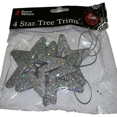 4 Star Tree Trims Silver