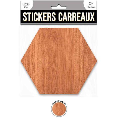 4 Stickers effet bois - 15 x 13 cm - marron - Marron