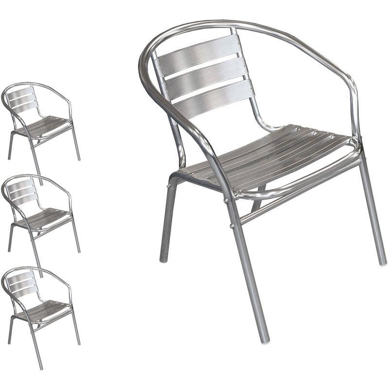 Multistore 2002 - 4 Stück Bistrostuhl stapelbar Aluminium Stapelstuhl Campingstuhl Gartenstuhl Balkonmöbel Gartenmöbel Silber