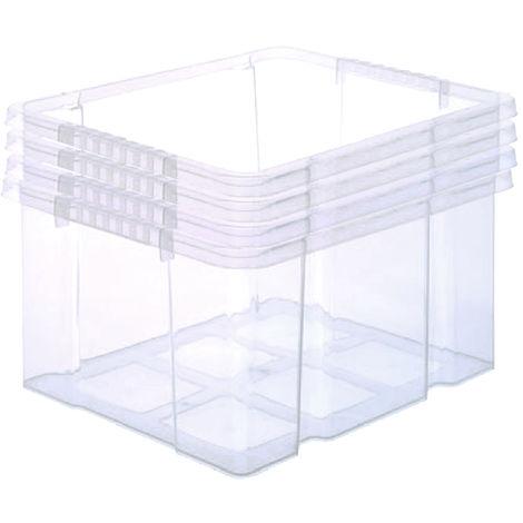 4 Stück Stabile Kunststoffbox Eurobox (Dreh Stapelbar) 44x35x24cm passt in Kastenregale Drehstapelbox Stapelbox Lagerkiste - ohne Deckel!
