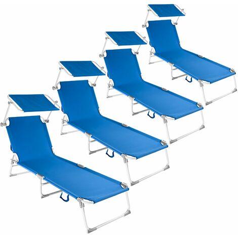 4 sun loungers aluminium Victoria 4 settings - reclining sun lounger, sun chair, foldable sun lounger