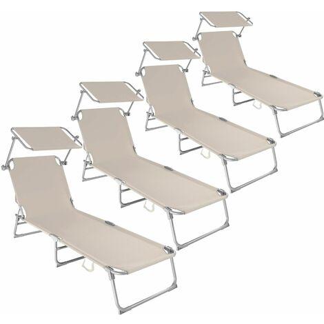 4 Sun loungers with sun shade - reclining sun lounger, sun chair, foldable sun lounger