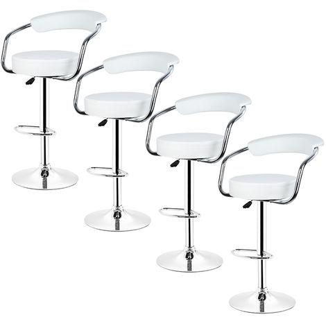 4× tabouret de Bar avec accoudoirs réglable Rotatif à 360 °pour Salon blanc