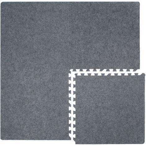 4 Tapis Puzzles plus 8 Cadres   Durable Mousse EVA   Dimension: 1.58 m²   Epaisseur 7 mm   Pièces Détachables   Couleur Gris