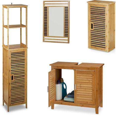 4 teilige Badezimmer-Einrichtung, aus Bambus ...