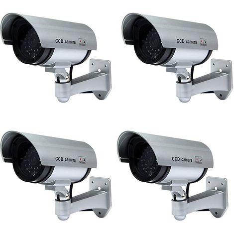4 TELECAMERE FINTA DOME DUMMY CON LED IR LAMPEGGIANTE VIDEOSORVEGLIANZA CAMERA