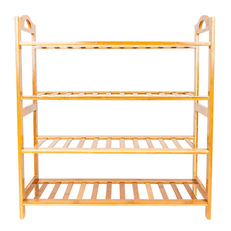 4 Tier Bamboo Shoe Rack, Solid Wood Shoe Rack Storage Organiser Unit Hold up to 14 Pairs