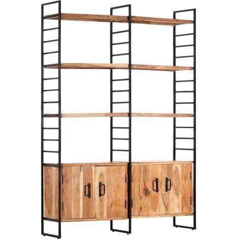 4-Tier Bookcase 124x30x180 cm Solid Acacia Wood