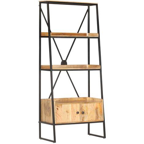 4-Tier Bookshelf 80x39x180 cm Solid Mango Wood