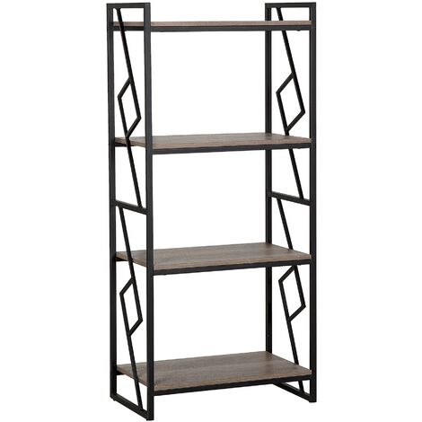 4 Tier Bookshelf Dark Wood and Black FORRES
