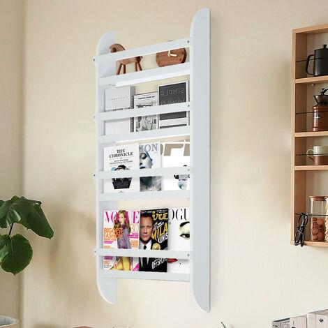 "main image of ""4 Tier Wall-mounted Wooden Bookshelf Storage Rack,Round Rod 50*12*118CM"""