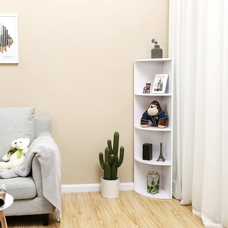 4 Tier Corner Shelf Unit Freestanding Display Storage Shelves And Wooden Bookcase For Kitchen Bedroom Living Room Study White Lbc42wt