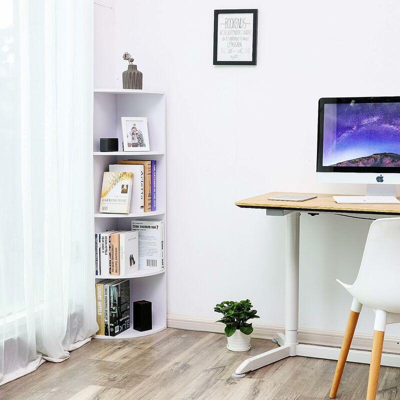 Fantastic 4 Tier Corner Shelf Unit Freestanding Display Storage Shelves And Wooden Bookcase For Kitchen Bedroom Living Room Study White Lbc42Wt Download Free Architecture Designs Itiscsunscenecom