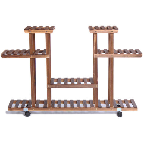 4-Tier Corner Wood Flower/Plant Stand Shelving Rack with wheels brown 115*80*25cm