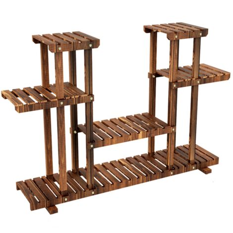 4-Tier Corner Wood Flower/Plant Stand Shelving Rack without wheels brown