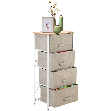 4-Tier Dresser Tower, Fabric Drawer Organizer With 4 Easy Pull Drawers With Metal Frame,Wooden Tabletop For Living Room, Closet-Different color