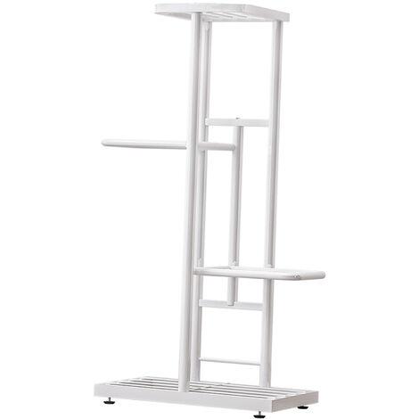 4-Tier estante de exhibicion del estante Macetas Planta soporte para macetas Escalera Planter soporte para trabajo pesado estanterias de almacenamiento en rack de plantas en macetas, blanca