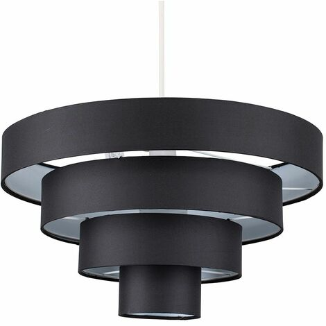 """main image of """"4 Tier Faux Silk Ceiling Light Shade Pendant - Black"""""""