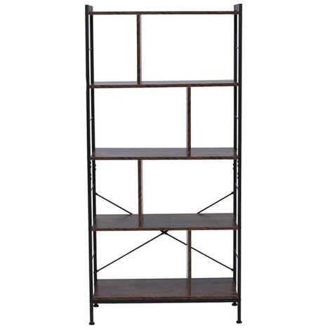 4 Tier Industrial Bookshelf, Floor Standing Storage Rack in Living Room Office Study, Large Storage Space, Simple Assembly, Stable Steel Frame, Rustic Brown