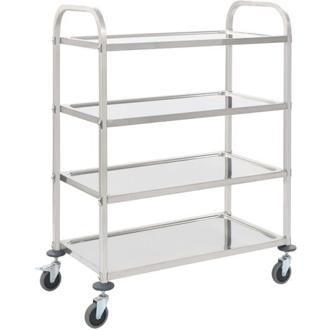 4-Tier Kitchen Trolley 107x55x125 cm Stainless Steel