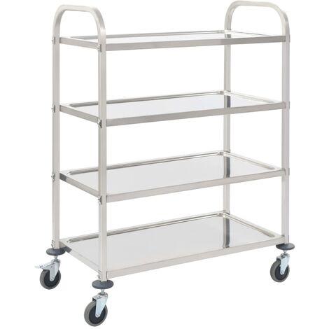 4-Tier Kitchen Trolley 107x55x125 cm Stainless Steel - Silver