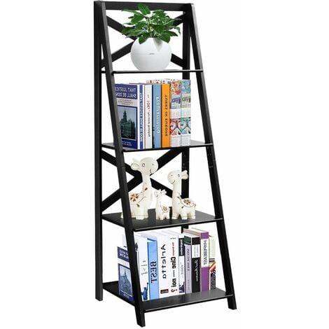 4 Tier Ladder Shelf Storage Shelving Unit Wooden Bookcase Shelves Space Saving