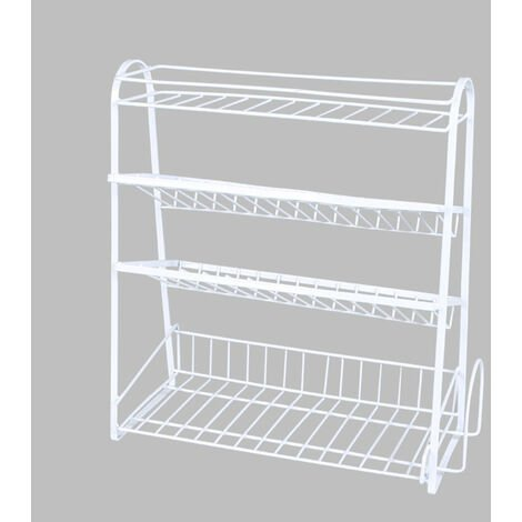 4 tier Large Capacity Spice Dish Rack Kitchen Shelf Storage 38.5x9x41cm white