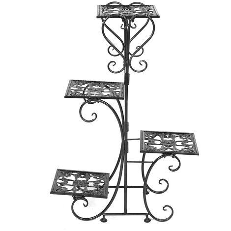 4 Tier Layer Flower Plant Pot Stand 57*25*81cm Black Display Shelf Home Garden Outdoor Decor Rack