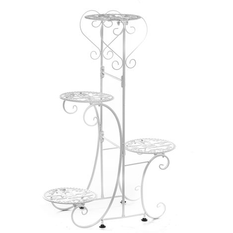 4 Tier Metal Flower Pot Rack White