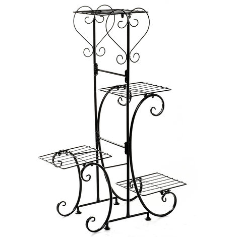 4 Tier Metal Flower Pot Stand Black