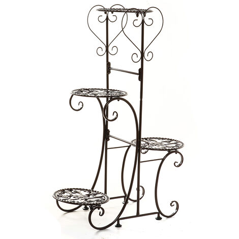 4 Tier Metal Plant Pot Rack, Flower Display Stand, Patio, Garden, Home (Brown, Round Racks)
