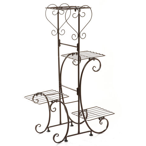 4 Tier Metal Plant Pot Rack, Flower Display Stand, Patio, Garden, Home (Brown, Square Racks)